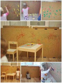 Recycled cardboard sheet activities. Must try!! Indoor Activities For Toddlers, Recycling, Desk, Furniture, Home Decor, Writing Table, Desktop, Decoration Home, Writing Desk