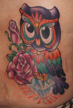 Bling Owl , Owl , Diamond, girlie tattoo, pretty tattoo, cartoon animal, color | Kristel Oreto -Tattoo Artist- Philadelphia, PA