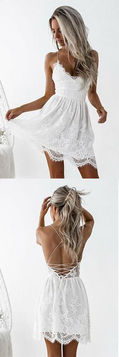A-Line Spaghetti Straps Criss-Cross Straps White Lace Homecoming Dress,Party Dress,Evening Dresses,Cocktail Dress,Short Prom Dresses