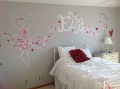 Ballerina heart mural for lil girl Omaha, Nebraska artist