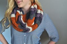 Chevron Infinity Scarf  Pumpkin Dusty Purple & by theComfyTimes, $60.00 #pumpkin #chevron #fallaccessories