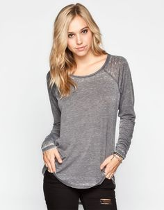 VOLCOM Lived In Burnout Womens Tee 239528104 | Raglans & L/S Tees | Tillys.com