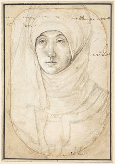 "Hans Holbein the Elder, ""Portrait of a Woman,"" c. 1508, silverpoint, brush, and black and brown ink, and black chalk heightened with white on white prepared paper, National Gallery of Art, Washington, Woodner Collection"