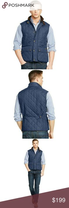 """New! Polo Ralph Lauren Aviator Quilted Vest This diamond-quilted vest, from Polo Ralph Lauren, is crafted from a sleek microfiber and designed with a buckled corduroy collar.  Full-zip front Woven """"Polo RL & Co"""" label at the left waist pocket flap Stand collar with corduroy facing Welt pockets at the chest Snapped-flap patch pockets with suede binding Interior welt pockets at the chest Adjustable buckled throat tab Snapped storm placket Approximately 27-1/2-inch length Fully lined and…"""