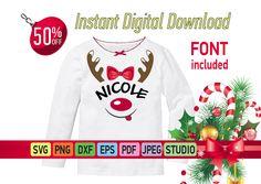 Christmas deer SVG, Girls Funny Christmas deer SVG for Cricut Deer Svg Kids Christmas shirt, Cartoon deer, Reindeer svg, Deer with name SVG by SuperDuperDIY on Etsy