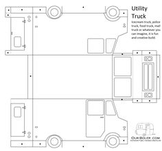 I had a request from my youngest son to help him make an ice cream truck. this template turned out to be great fun, making an ice cream truck, mail truck, police truck and a flamed food truck. 3d Templates, Templates Printable Free, Printable Paper, Printable Crafts, Paper Car, Paper Toys, Paper Crafts, Cardboard Toys, Festa Hot Wheels