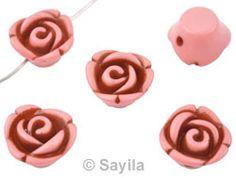 www.sayila.com - Synthetic bead rose ± 14x8mm (hole ± 1,9mm)