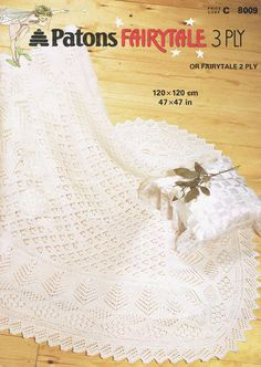 Patons 8009 baby square Shetland shawl vintage knitting pattern 47 inches square when completed 2 or 3 ply knitting wool PDF Instant download