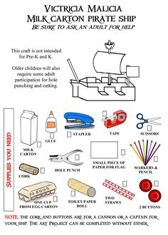Pirate Ship Milk Carton craft ... pattern free  http://www.victriciamalicia.com/index_files/Page296.htm