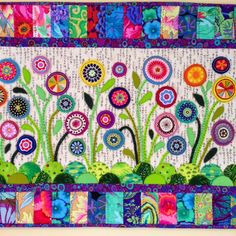 Flower Garden wool felt applique by Wendy's quilts and more.  Pattern by Wendy Williams at Flying Fish Quilts.  Bloggers Quilt Festival - Spring 2015