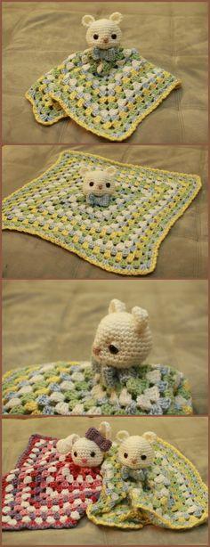 Crochet Bear Lovey Here isa perfect combo between baby's favorite security blanket and teddy bear!! #crochet #amigurumi #handmade