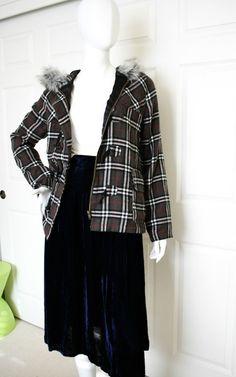 Ezekiel Designer CHECK PLAID TARTAN Jacket FAUX FUR Hooded Duffle Coat TOGGLES S #Ezekiel #Parka