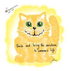 #Smile and bring the #sunshine to someone's life. KOT #12   #88summercats #88cats #art #print #kot #cat #catart #qoute #quoteoftheday #kotquote #lifeisforlemonade #lemonade #lemon #yellow #chat #gatto #smile #smilingcat #cheshirecat #happycat