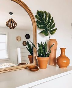 arched mirror + plants
