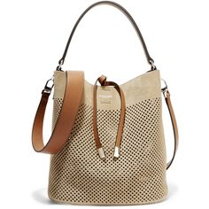 Michael Kors Collection Miranda medium perforated suede and leather... (615 CAD) ❤ liked on Polyvore featuring bags, handbags, shoulder bags, beige, michael kors purses, beige leather handbag, leather purse, genuine leather shoulder bag and brown leather handbag