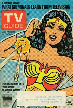 Lynda Carter Wonder Woman TV Guide 1977  This issue of TV Guide appeared toward the end of the first season (13 episodes April 21, 1976 to February 16, 1977) of the Wonder Woman TV show, when the setting was still the World War II era.  View it humongofied
