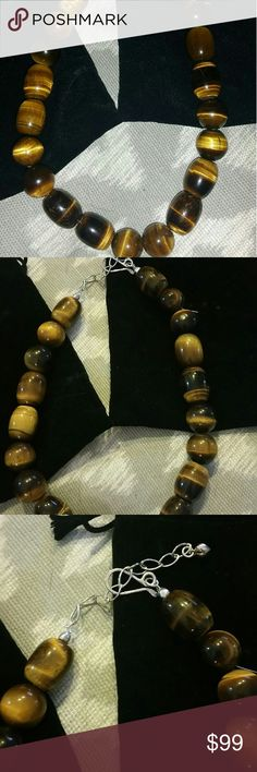 JAY KING tiger's eye necklace***NEW** Chunky Jay King tiger's eye gemstone necklace.  Sterling silver end beads with extender chain in sterling silver  Round and barrel shaped beads JAY King Jewelry Necklaces