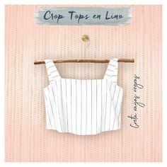 Crop Tops en lino Spring Tops, Spring Summer, Crop Tops, Tank Tops, Women, Fashion, Black Stripes, Dry Cleaning, Bucaramanga