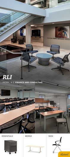 RLI  Peoria, IL Finance and Consulting  Featuring Allsteel Office furniture,  Essentials, Merge and Seek  RLI wanted to be better equipped for attracting and retaining talent by providing brighter, more flexible, and technology-friendly workspaces.