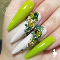 Beautiful green and bling nails by Ugly Duckling Master Educator 😍 Ugly Duckling Nails is dedicated to keeping love, support, and positivity flowing in our industry ❤️ Gorgeous Nails, Love Nails, How To Do Nails, Fun Nails, Swarovski Nails, Rhinestone Nails, Glam Nails, Bling Nails, Romantic Nails