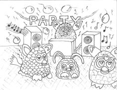 Furby's dancing and partying coloring page.