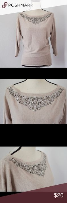 🍁NWOT WHBM statement beaded sweater NWOT WHBM statement beaded sweater. Tan sweater 3/4 sleeves, no missing beads, pulls, or other damage. Excellent condition! And beautiful! White House Black Market Sweaters Crew & Scoop Necks