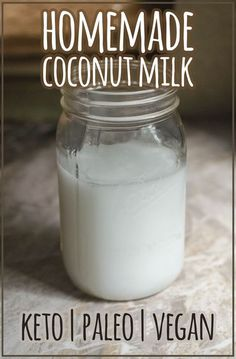 A delicious two-ingredient homemade coconut milk recipe, without any synthetic vitamins or additives! Keto, paleo, Whole30, vegan. #homemade #coconutmilk Coconut Chia Pudding, Coconut Milk Recipes, Low Carb Recipes, Cooking Recipes, Vegan Recipes, Healthy Milk, Nut Milk Bag, Unsweetened Coconut Milk, Food Print