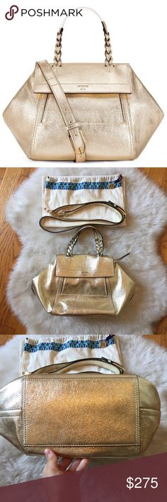 a3cbb30419b5 NWOT Tory Burch Half Moon Satchel Gold NWOT Tory Burch small size gold half  moon satchel. Never worn. Very beautiful bag that s hard to find and sold  out ...