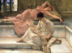 The Painting - The Favourite Poet by Sir Lawrence Alma-Tadema