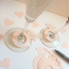 20 BLUSH PINK ring shaped drink markers  Fun drink markers for champagne and wine glasses! Perfect for an engagement party, bridal shower or