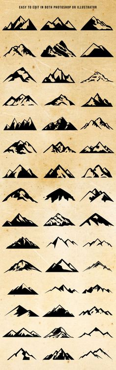 Check out Mountain Shapes For Logos Bundle by lovepower on Creative Market // Montagnes graphisme simplifié Mountain Tattoo, Tattoos, Future Tattoos, Art Tattoo, Body Art, Art, Ink, Small Tattoos, Tattoo Designs