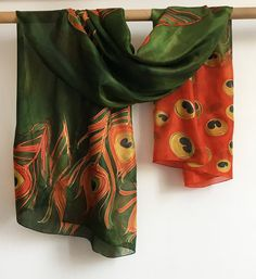 Hand painted silk scarf The Red Peacock Feathers Moss by klaradar