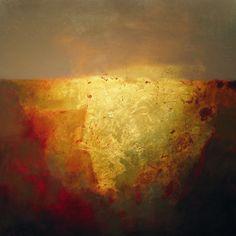 "Steven Daluz, ""Submerge"", oil, metal leaf, mixed media on panel"