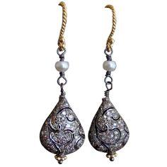 Rhodium Diamond Teardrop Earrings - Point de Venise Earrings
