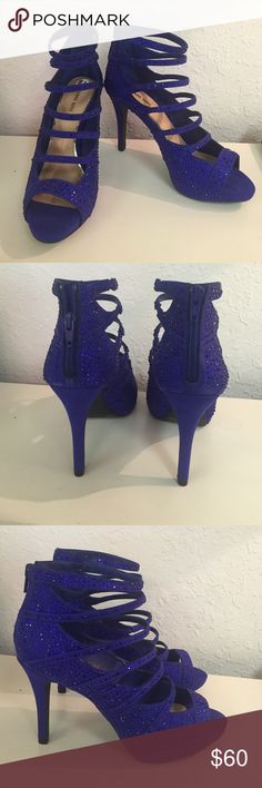 NEW!Blue Strappy Rhinestone Filled Peep Toe Heels Blue Strappy Zip Up Heel Gianni Bini Shoes Heels