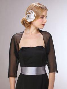 3/4 Sleeve Chiffon Wedding Bolero Jacket