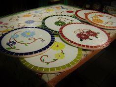Conjunto com 6 Sousplat em mosaico