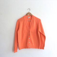 Bright peach 60s cardigan // vintage mod by superqueenieretro