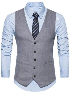 Single Breasted Belt Edging Waistcoat fashion and accessories February 17 2019 at Mens Suit Vest, Mens Suits, Chaleco Casual, Men's Waistcoat, Slim Suit, Vest Outfits, Mens Fashion Suits, Look Cool, Men Dress