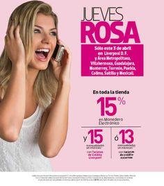 Jueves Rosa Liverpool ofertas Abril 03 Jueves Rosa Liverpool:El día de hoy jueves 03 de Abril del 2014 Liverpool tendrá nuevamente su promociónJueves Rosa Liverpooly esta vez estaofreciendo hasta15% de bonificación en monedero electrónico y 13 meses en toda la tienda (15 MSI si pagas con ta... -> http://www.cuponofertas.com.mx/oferta/jueves-rosa-liverpool-ofertas-abril-03/
