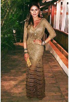 Vestido-Longo-Renda-Lorena-Dourado   Galeria Tricot - Galeria Tricot