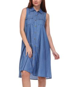 Look what I found on #zulily! Denim Blue Sleeveless Shirt Dress #zulilyfinds