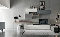 Modern Wall Unit by Tomasella, Italy Living Room Wall Units, Living Room Tv Unit Designs, Interior Design Living Room, Living Room Decor, Tv Unit Decor, Modern Wall Units, Living Comedor, Modern Office Design, Cuisines Design