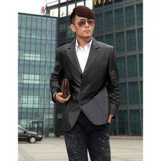 Mens Black Sheepskin Leather Single Breasted Fitted Dress Suit Jacket SKU-116022