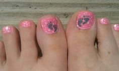 It's A Girl toenails #pregnancy #footprints #pink #babygirl