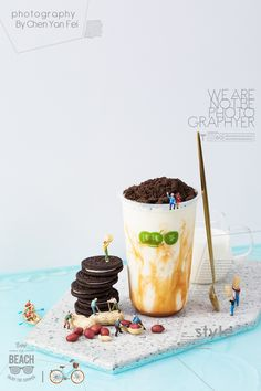 miniature of milk tea&drink Food Graphic Design, Food Poster Design, Menu Design, Food Design, Coffee Photography, Food Photography Styling, Coffee Artwork, Bubble Milk Tea, Drink Photo