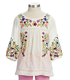 embroidered girl's tunic top