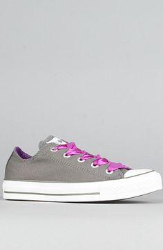 Converse The Fun Laces Chuck Taylor All Star Specialty Sneaker in Charcoal Low top canvas sneaker with rubber toe cap; contrast pinstripe on white rubber sole. By Converse Purple Converse, Canvas Sneakers, Chuck Taylors, Wedding Shoes, All Star, Shoe Boots, Wonderland, Wedding Ideas, Style Inspiration