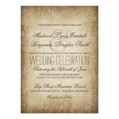 Vintage Paper Rustic Country Wedding Invitations #rustic #country #wedding http://www.zazzle.com/vintage_paper_rustic_country_wedding_invitations-256138887731622707?rf=238133515809110851&tc=PinterestMsPlnr