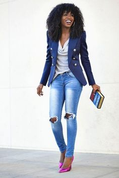 Women's Grey Sleeveless Top, Blue Blazer, Light Blue Ripped Skinny Jeans, and Hot Pink Leather Pumps
